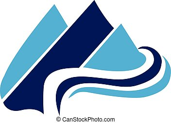 Blue Mountains web icon vector logo template
