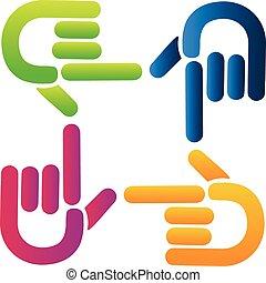 Teamwork pointer hands logo