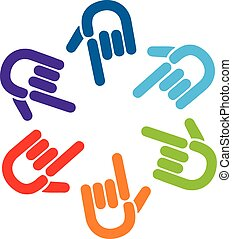 Teamwork pointer hands logo