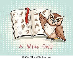 Owl wearing eyeglasses studying illustration
