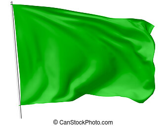 Green flag on flagpole flying in the wind isolated on white,...