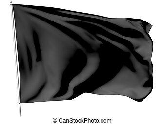 Black flag on flagpole