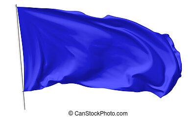 Blue flag on flagpole