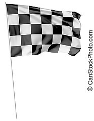 Checkered flag on long flagpole flying in the wind isolated...