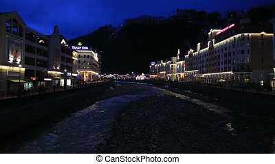 Night view of Rosa Valley in Rosa Khutor Alpine Resort