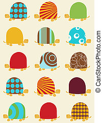 retro seamless pattern with turtles
