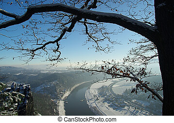 Bastei view on river Elbe upriver 05