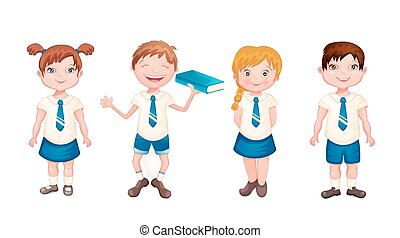 Happy kids in school uniform isolated on white