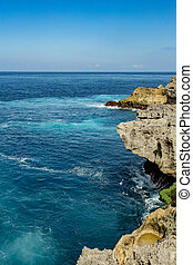 coastline at Nusa Penida island near Pasih Uug Broken Beach,...
