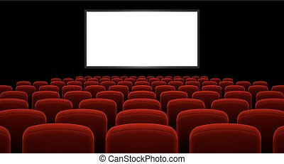 Cinema hall with white screen and red row chairs