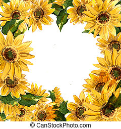 The pattern of blooming yellow flowers sunflower painted in...