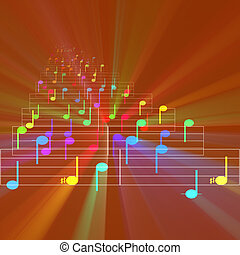 Colorful notes sheet music glowing