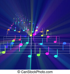 Colorful notes sheet music glowing - Colorful notes sheet...