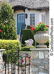 Front door of beautiful suburban house