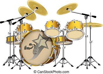 drum kit - Vector illustration of a drum set, a set of drums...