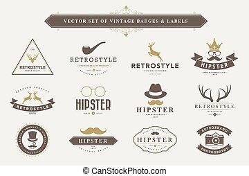 Set of vintage badges and labels. - Set of vintage hipster...