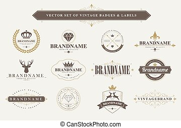 Set of vintage badges and labels. - Set of vintage badges...