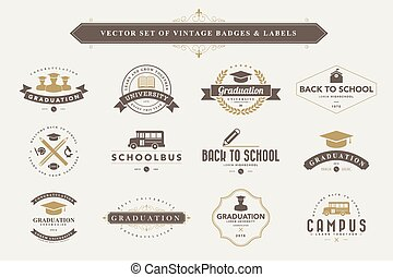 Set of vintage badges and labels - Set of vintage education...