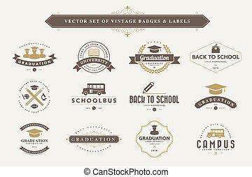 Set of vintage badges and labels. - Set of vintage education...