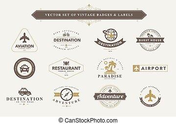 Set of vintage badges and labels. - Set of vintage travel...