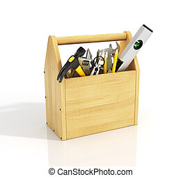 Wooden toolbox with tools.