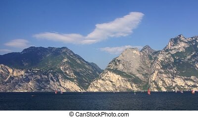 Garda lake - Panoramic time-lapse of Italian lake in...