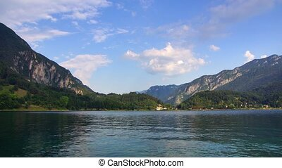 Ledro lake - Panoramic time-lapse of Italian lake in...