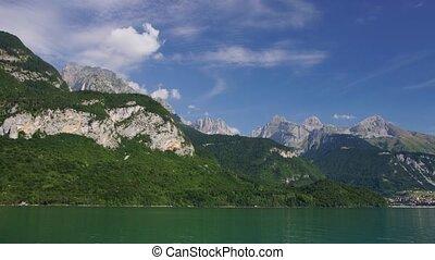 Malveno lake - Panoramic time-lapse of Italian lake in...