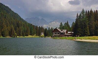 Nambino lake - Panoramic time-lapse of Italian lake in...