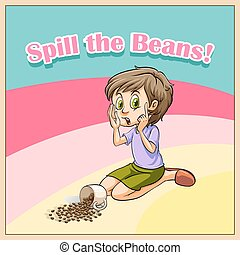 Woman whispering beside scattered  beans