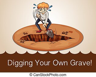 cartoon - Digging your own grave illustration
