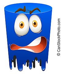 Terrified face in blue form illustration