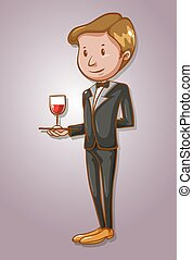 Waiter serving a glass of wine