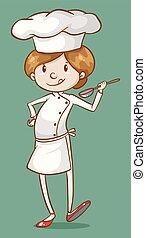 Female chef tasting food in spoon illustration