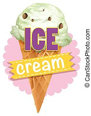Cone of ice cream  illustration
