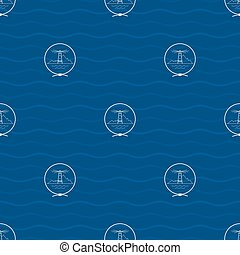 Seamless Pattern with Lighthouse - Seamless Pattern with a...