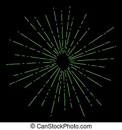 Sun Burst, Retro Style - Sun Burst, Light Green Rays of the...