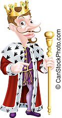 Snooty King Pointing Cartoon - King cartoon character...