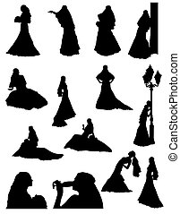 bride realistic silhouette set icons illustration isolated...