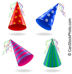 set icons caps for birthday celebrations illustration - set...