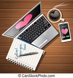 booklet and laptop with mobile phone and coffee cup - heart...