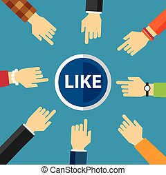 hand clike like button