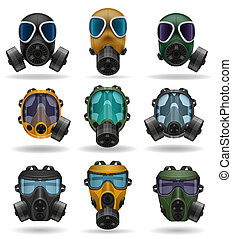 set icons gas mask illustration isolated on white background