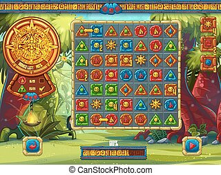 Illustration of the playing field for computer game Jungle Treasures