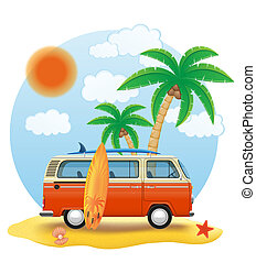 retro minivan with a surfboard on the beach illustration...