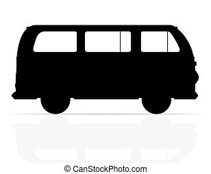 retro minivan silhouette illustration isolated on white...