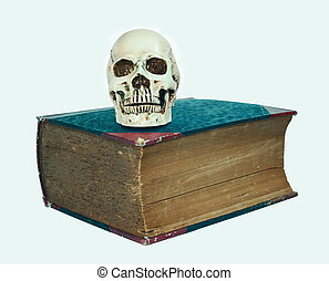 skull and big old text book