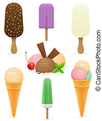 set icons various ice cream illustration isolated on white...