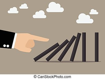 Businessman hand pushing the domino tiles. Business Concept