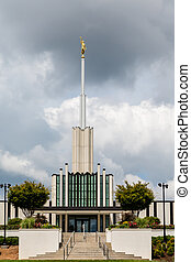 Steps and Statue on Mormon Temple - Modern Mormon Church in...